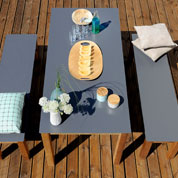 table et banc en bois et metal nelio - burger